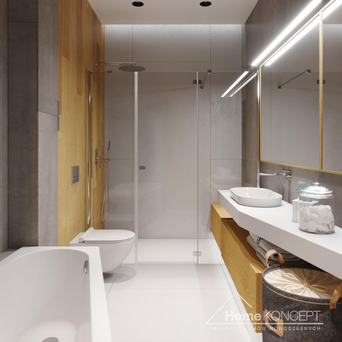 Łazienka HK45 szarość biel i drewno